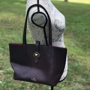 "Kate Spade ""Kaci"" Tote in Cherry Maroon Leather"